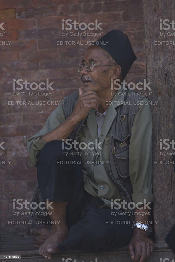 Elderly Nepalese man at Durbar Square, Kathmandu, Nepal stock photo