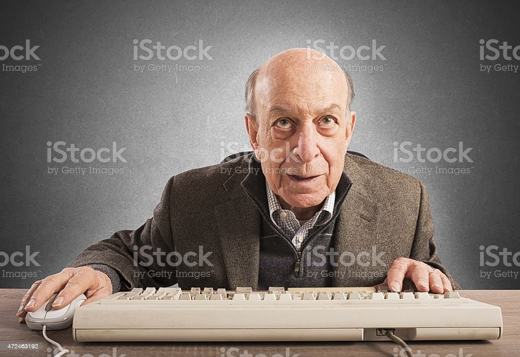 Elderly nerd stock photo