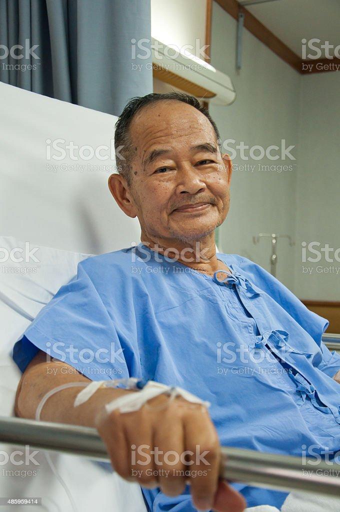 Elderly patien in hospital stock photo