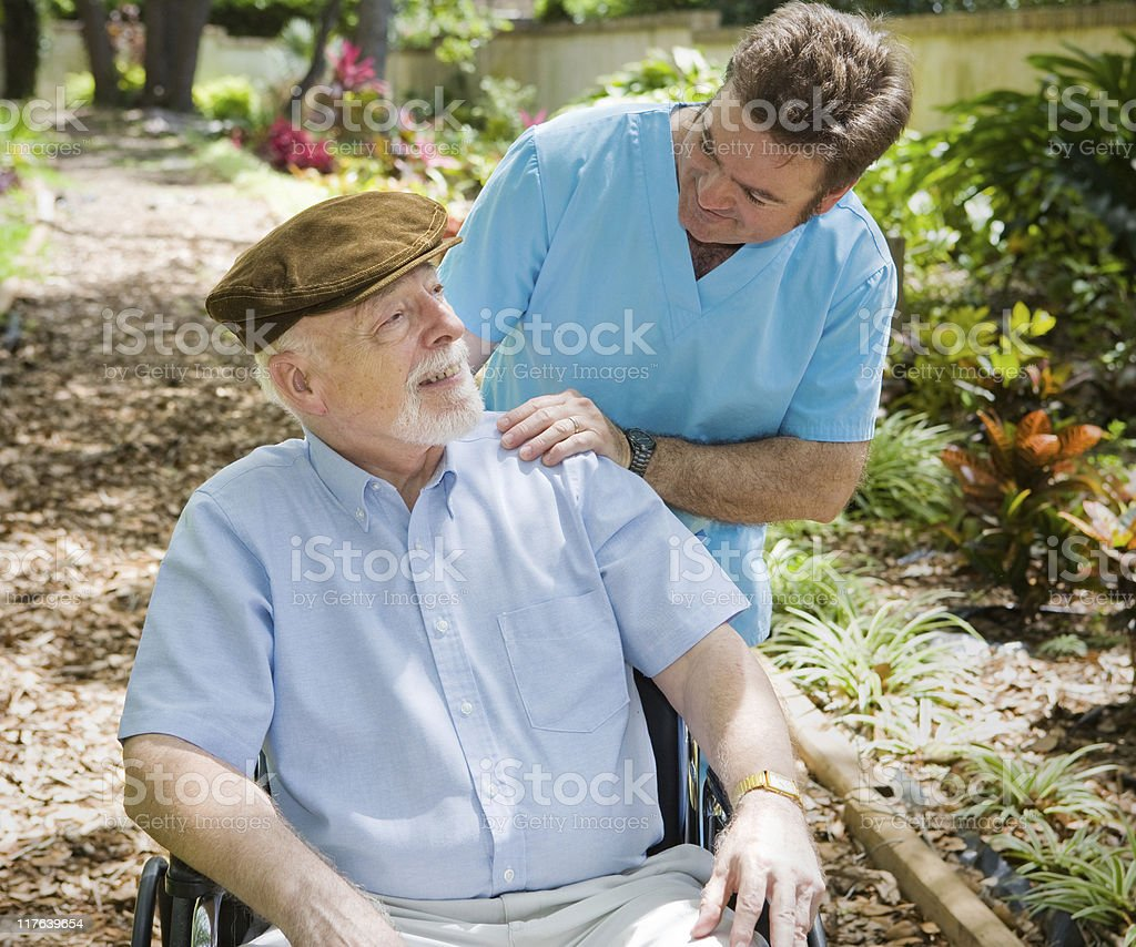 Elderly Patient and Nurse stock photo