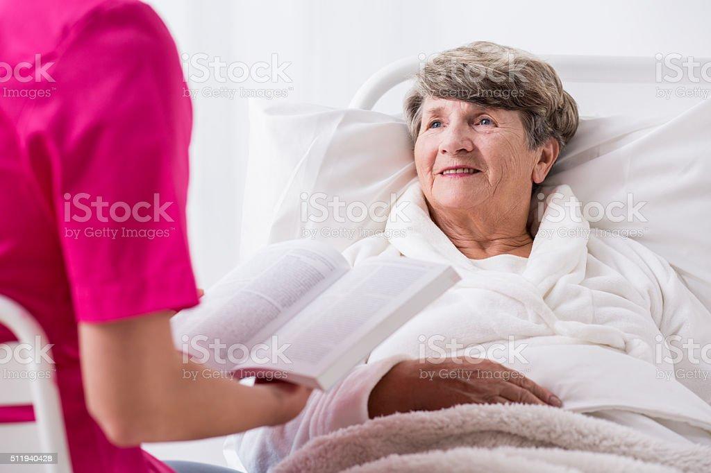 Elderly patient with positive attitude stock photo