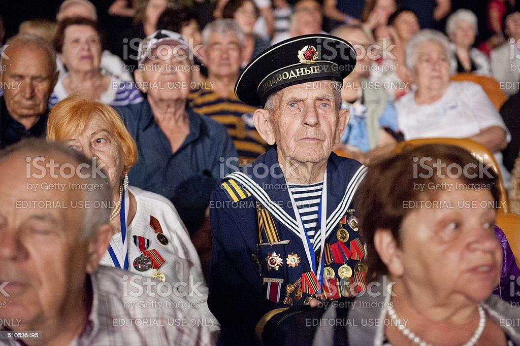 Elderly people watching celebration stock photo