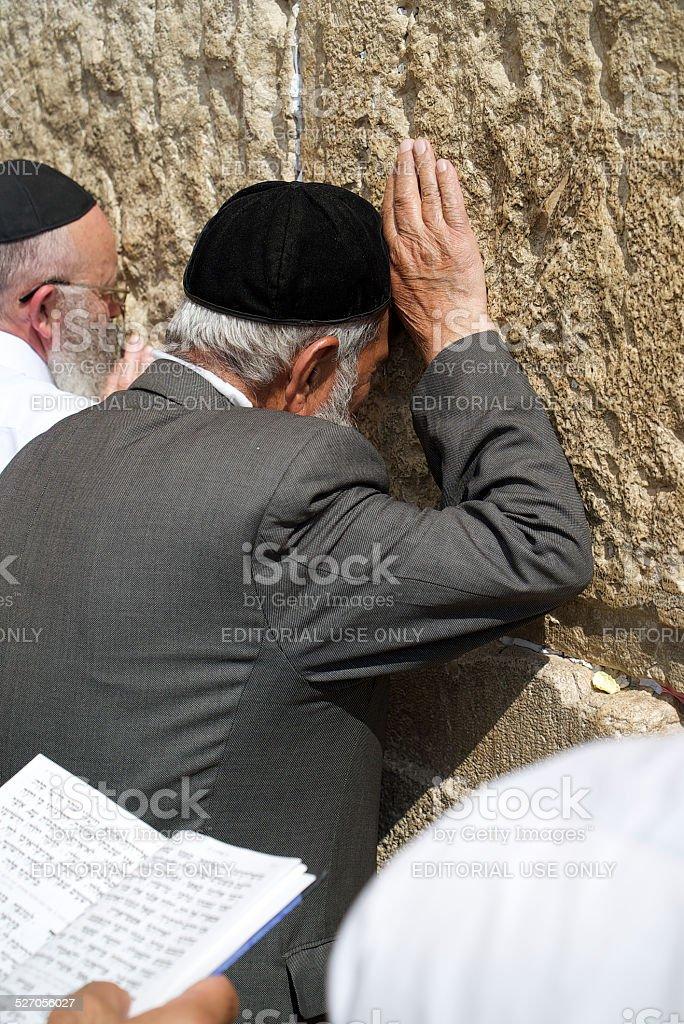 Elderly Pious Jew At Wailing Wall stock photo