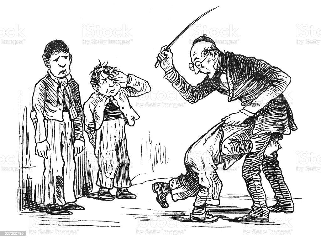 Elderly school teacher punishing a boy with a cane 1876 stock photo