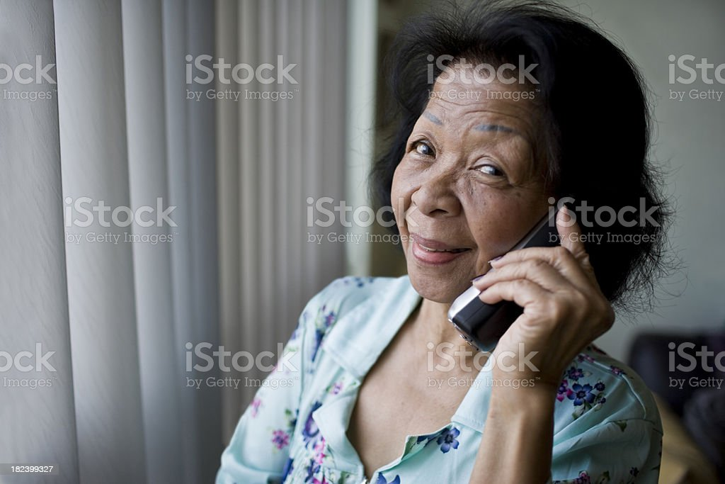 Elderly Senior Woman on a cordless phone royalty-free stock photo
