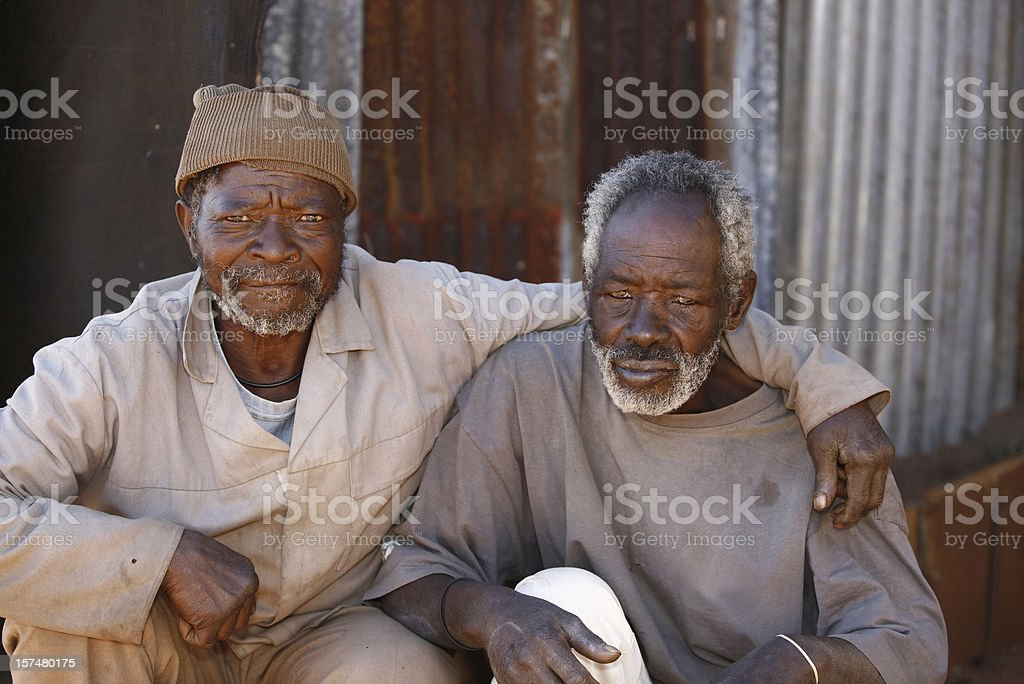 Elderly shack dwellers South Africa royalty-free stock photo