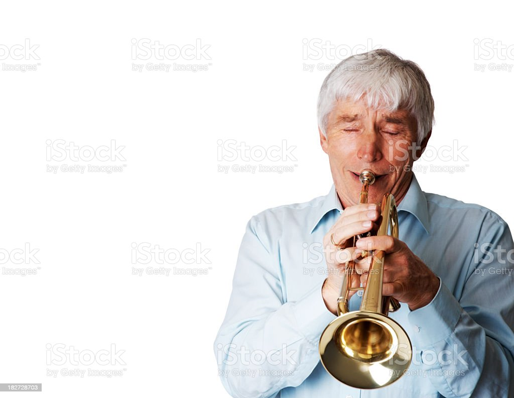 Elderly trumpeter playing music isolated on white royalty-free stock photo