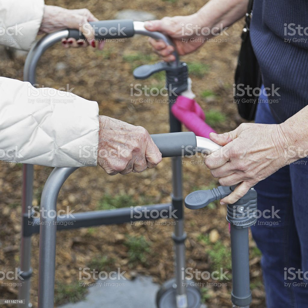 Elderly Woman And Caregiver Assisting With Orthopedic Walker royalty-free stock photo