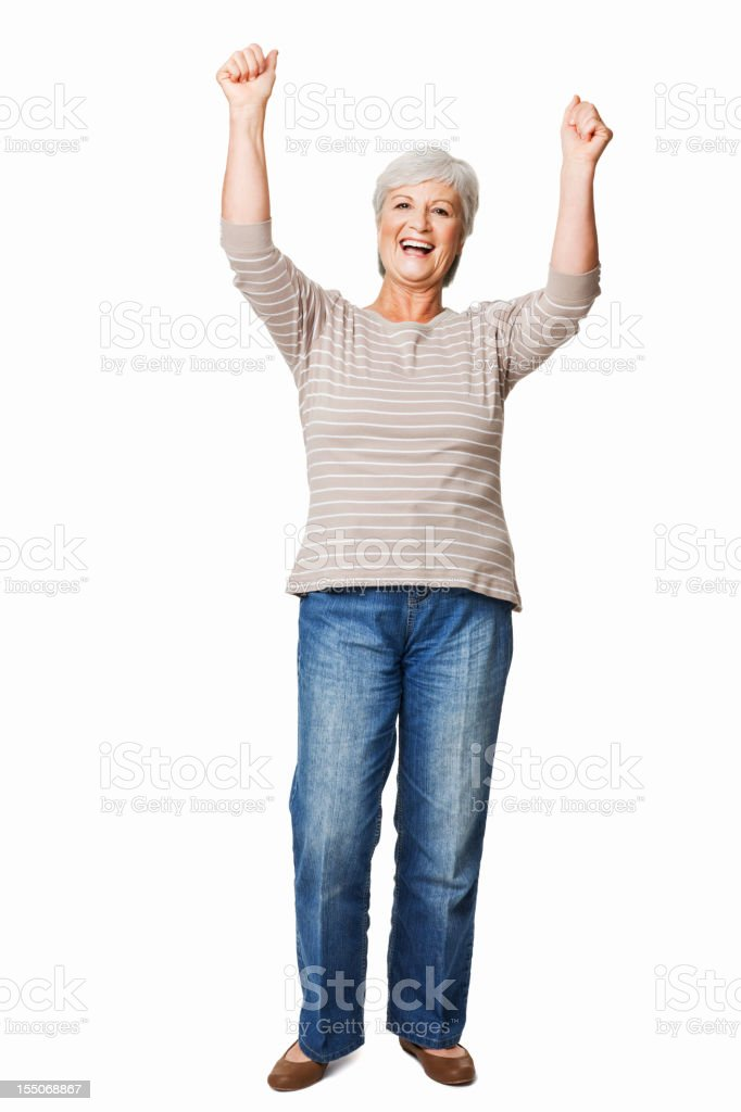 Elderly Woman Cheering - Isolated royalty-free stock photo