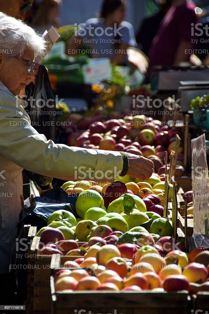 Elderly Woman Choosing Fresh Apples at Manhattan Outdoor Market, NYC stock photo