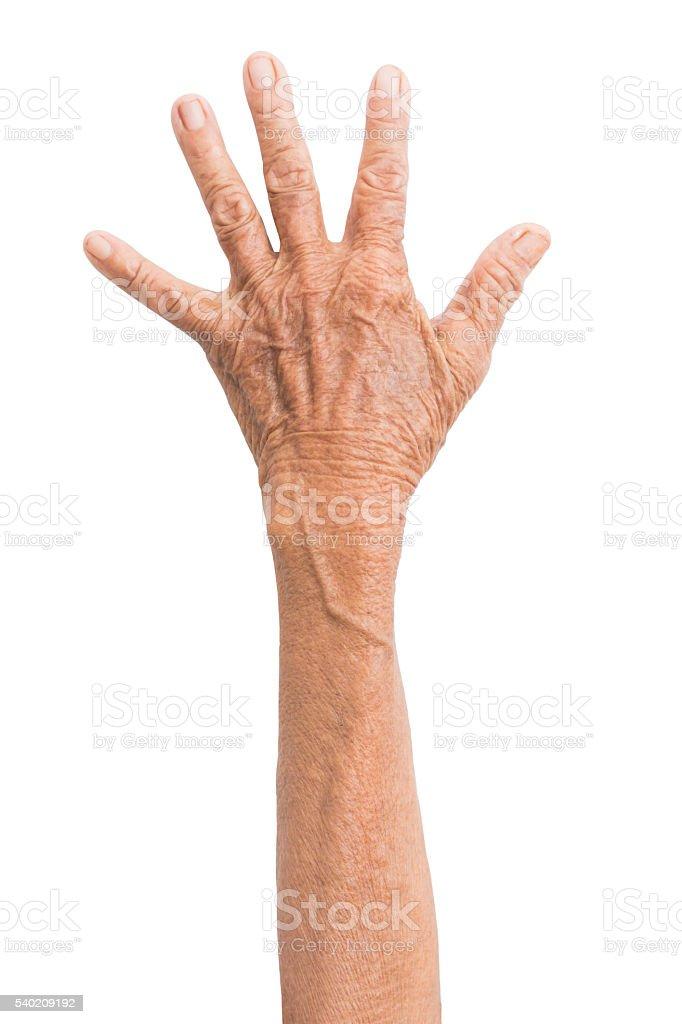 Elderly woman hand isolated on white background stock photo