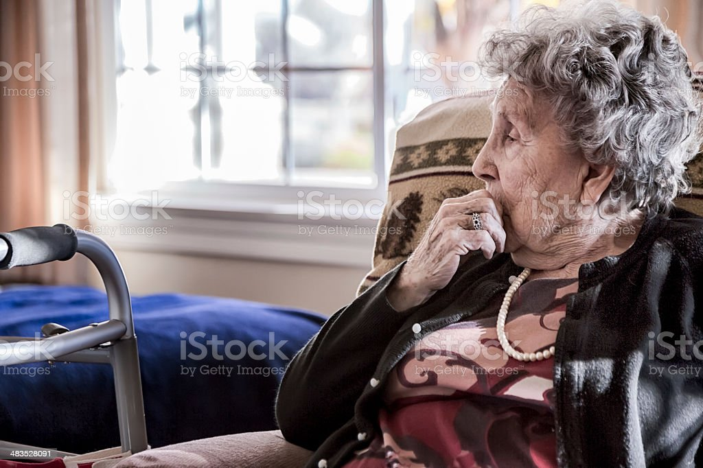 Elderly Woman in a Nursing Home stock photo