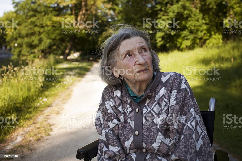 Elderly Woman Observing Nature in Park royalty-free stock photo