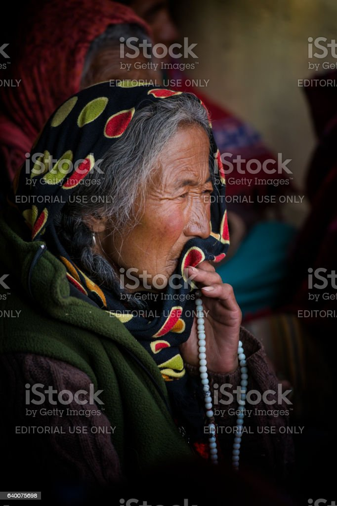 Elderly woman of the Chang-pa in Ladakh, India stock photo