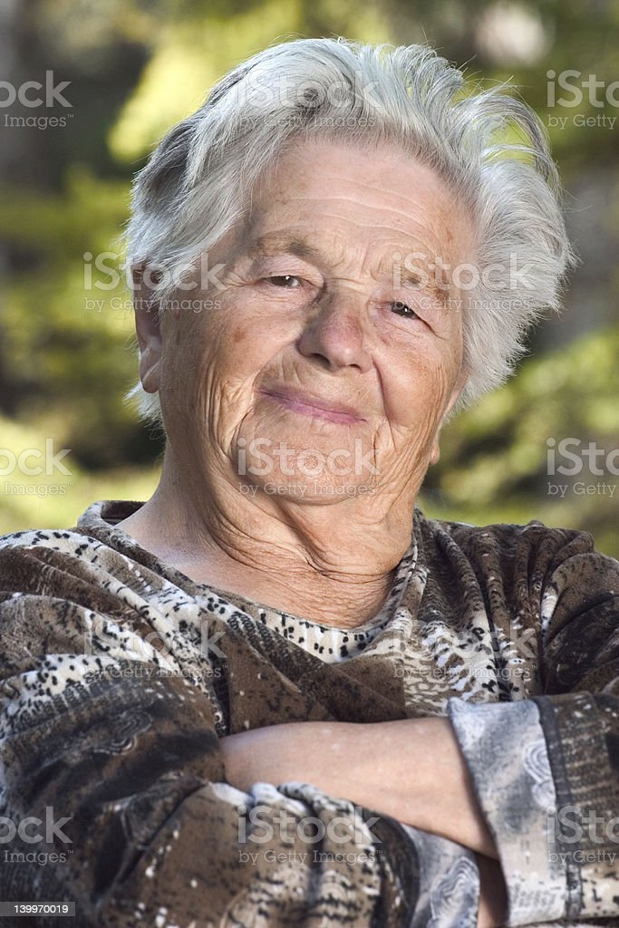 Elderly woman smiling royalty-free stock photo