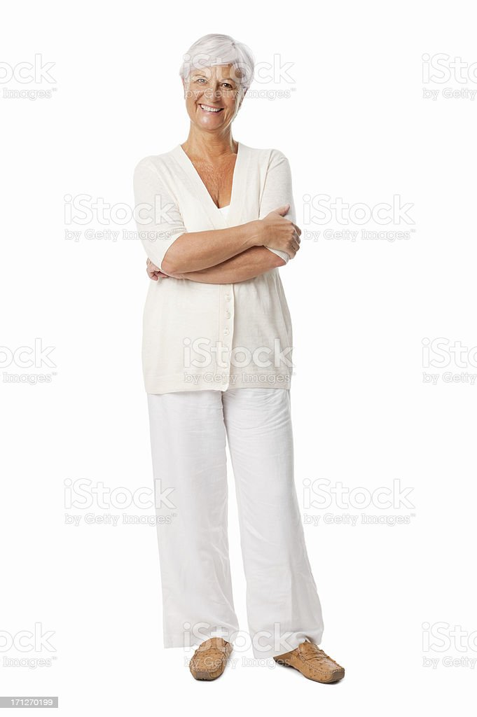 Elderly Woman Smiling With Hands Folded - Isolated royalty-free stock photo
