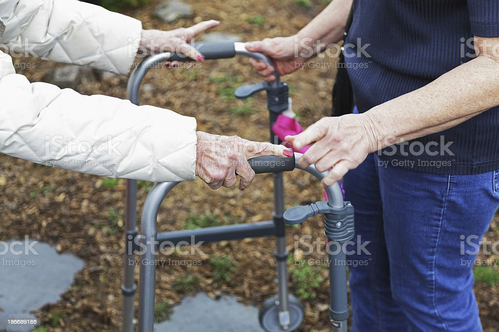 Elderly Woman Using Orthopedic Walker Asking For Help royalty-free stock photo