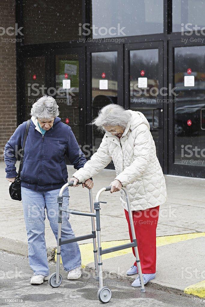Elderly Woman With Orthopedic Walker stock photo