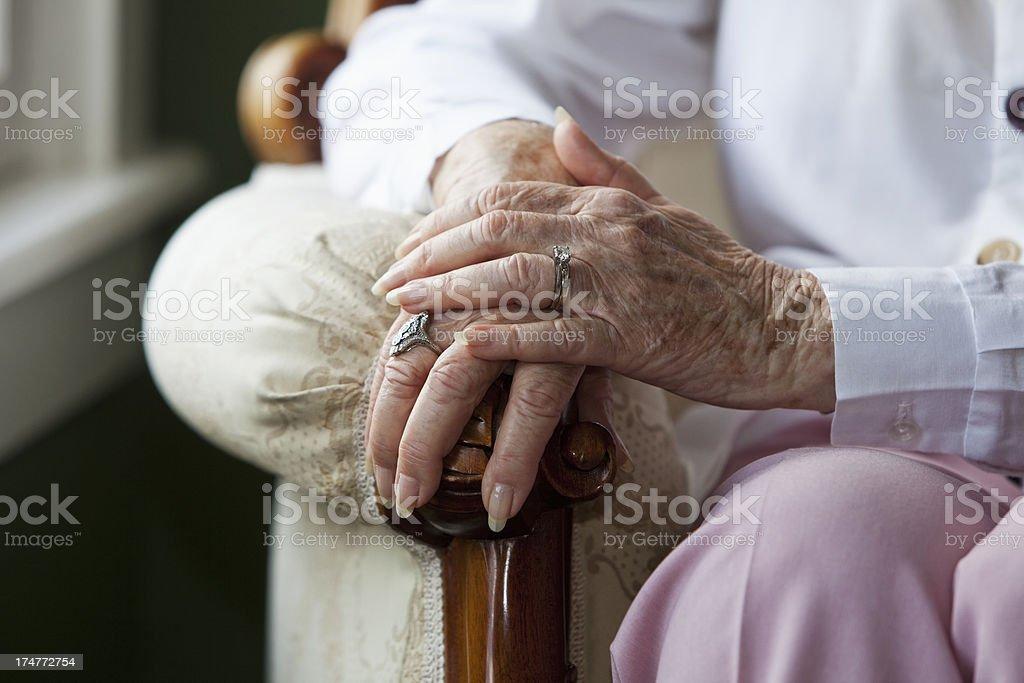 Elderly woman's hands stock photo