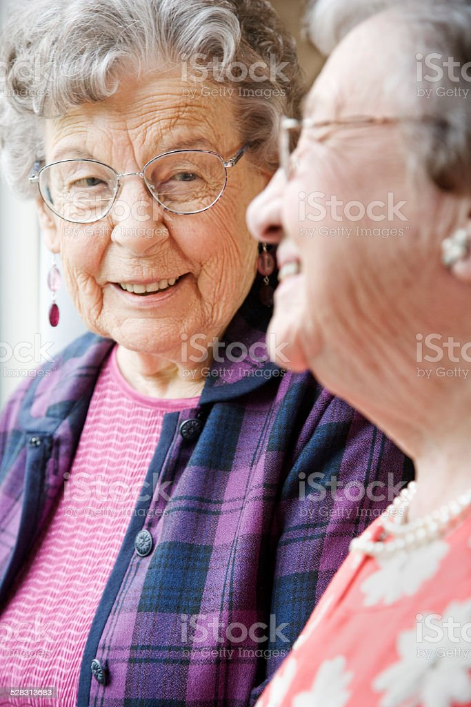 Elderly Women Talking in Nursing Home stock photo