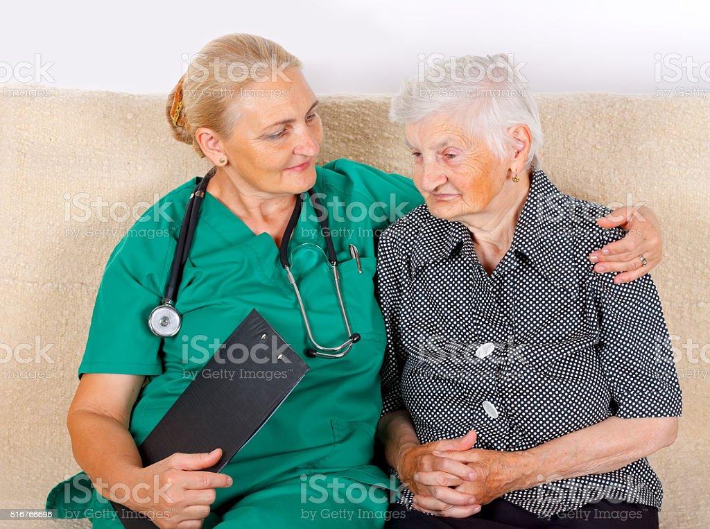 Eldery home care stock photo
