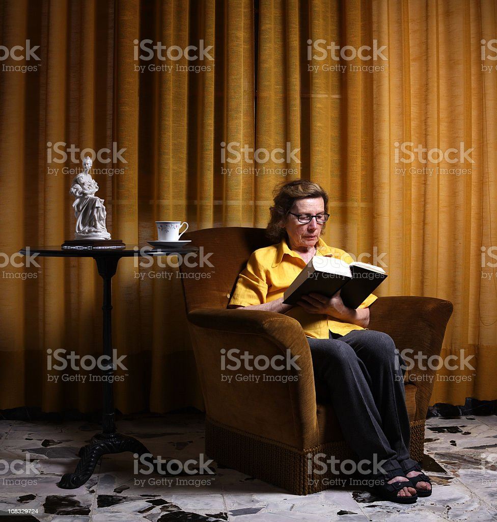 Eldery Lady Reading a Book. Color Image royalty-free stock photo