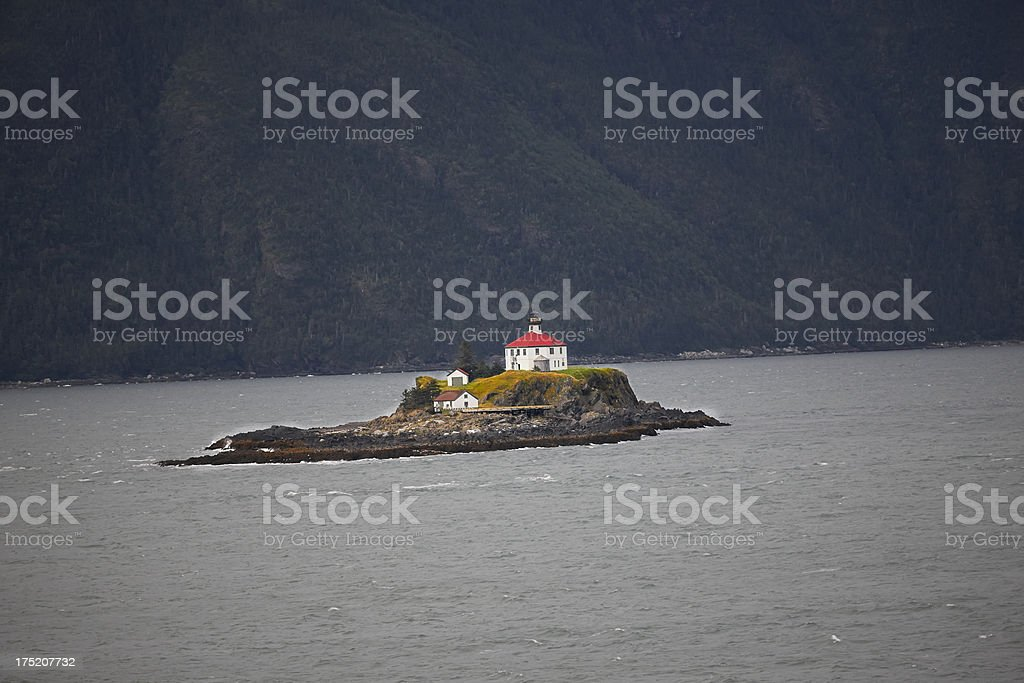 Eldred Rock Light, Lynn Canal, Alaska, Dusk stock photo