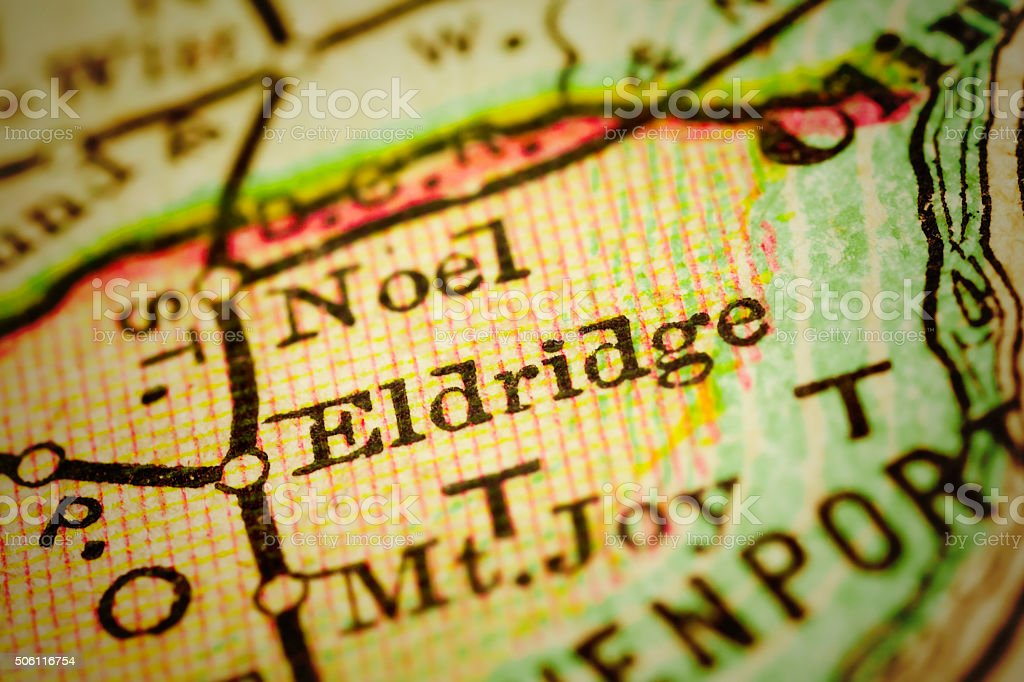 Eldridge, Iowa on an Antique map stock photo