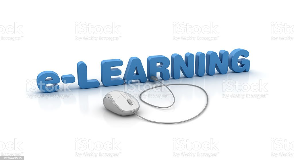 e-Learning 3D Word and Computer Mouse - 3D Rendering stock photo