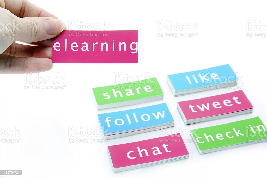 Elearning and Social Media Buzz Words stock photo