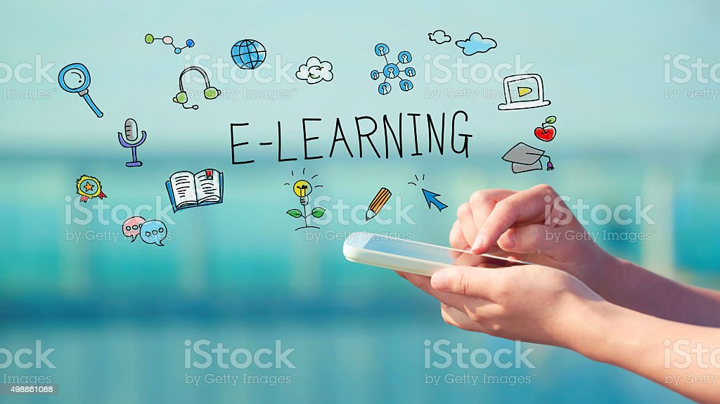 E-Learning concept with smartphone stock photo