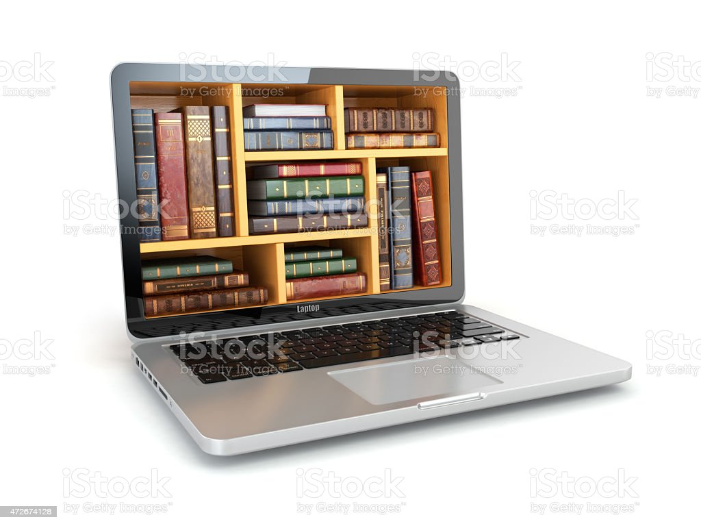E-learning education internet library or book store. Laptop and stock photo
