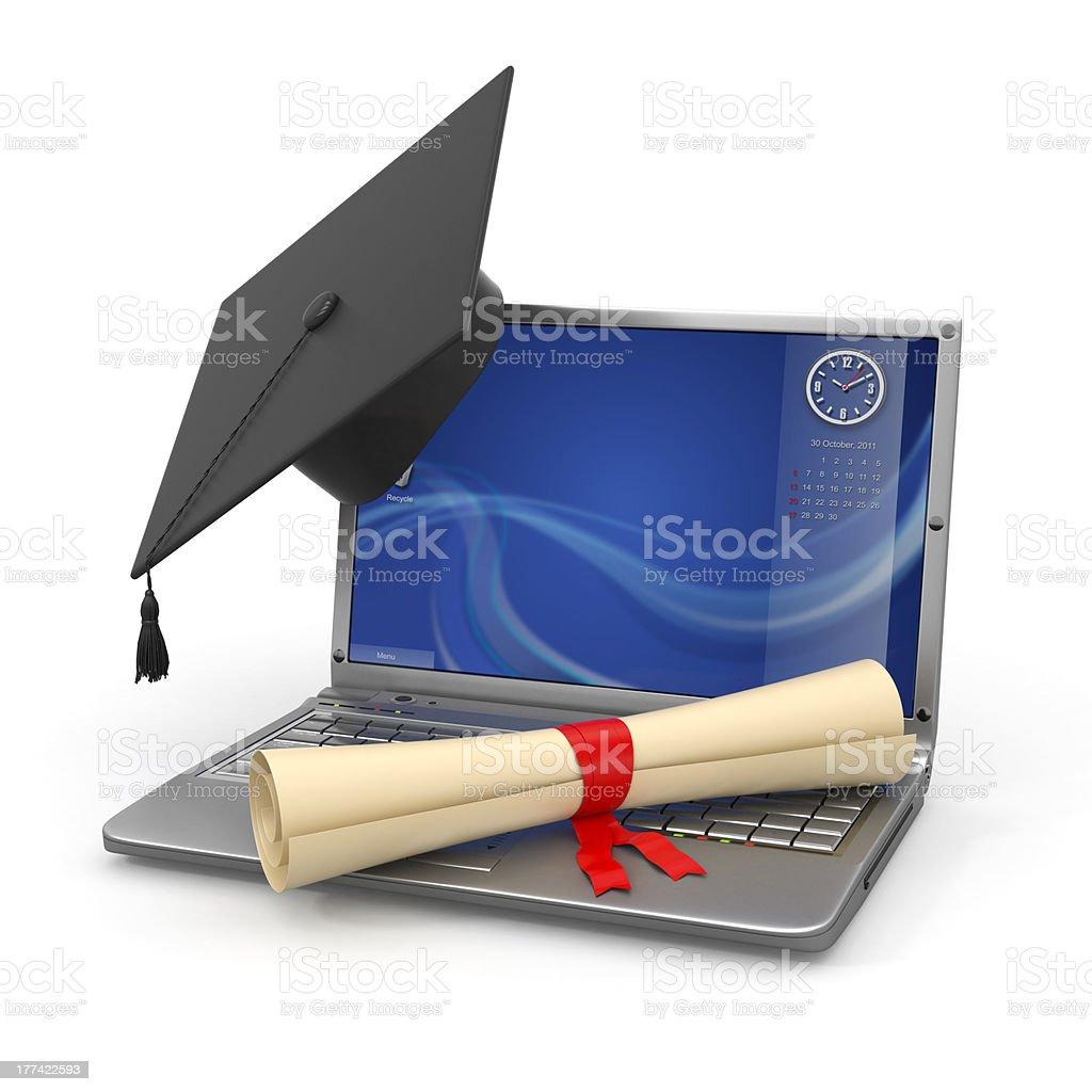 E-learning graduation. Laptop, diploma and mortar board royalty-free stock photo