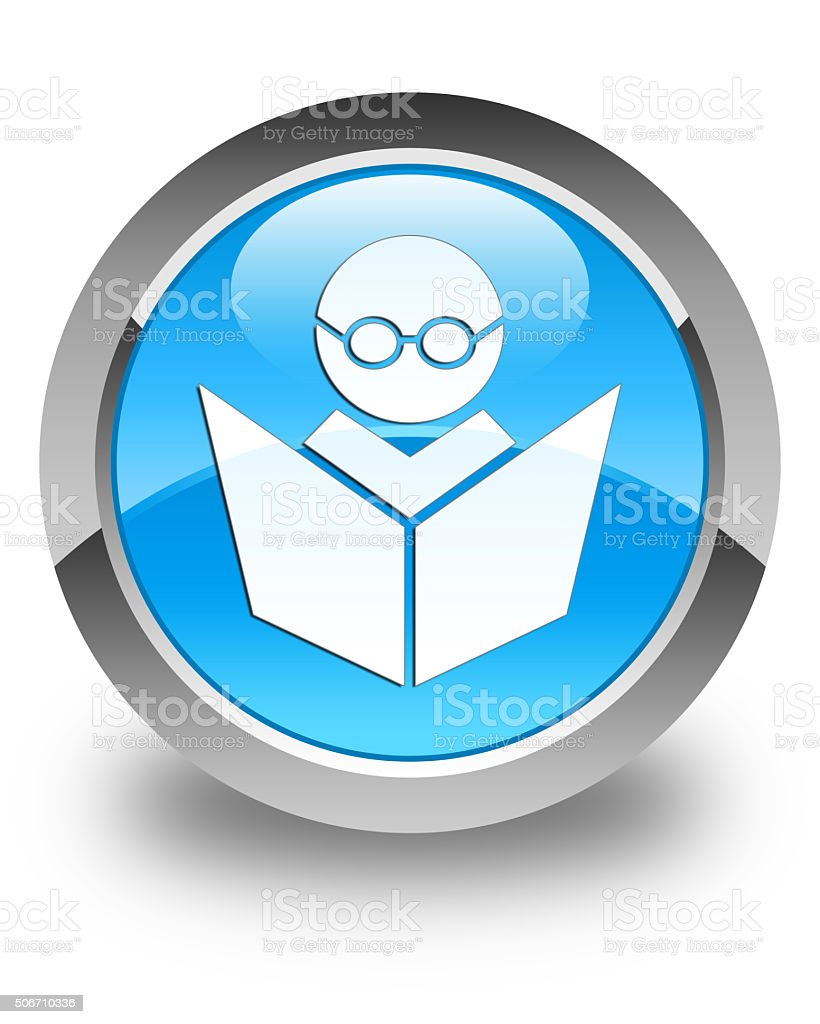Elearning icon glossy cyan blue round button stock photo