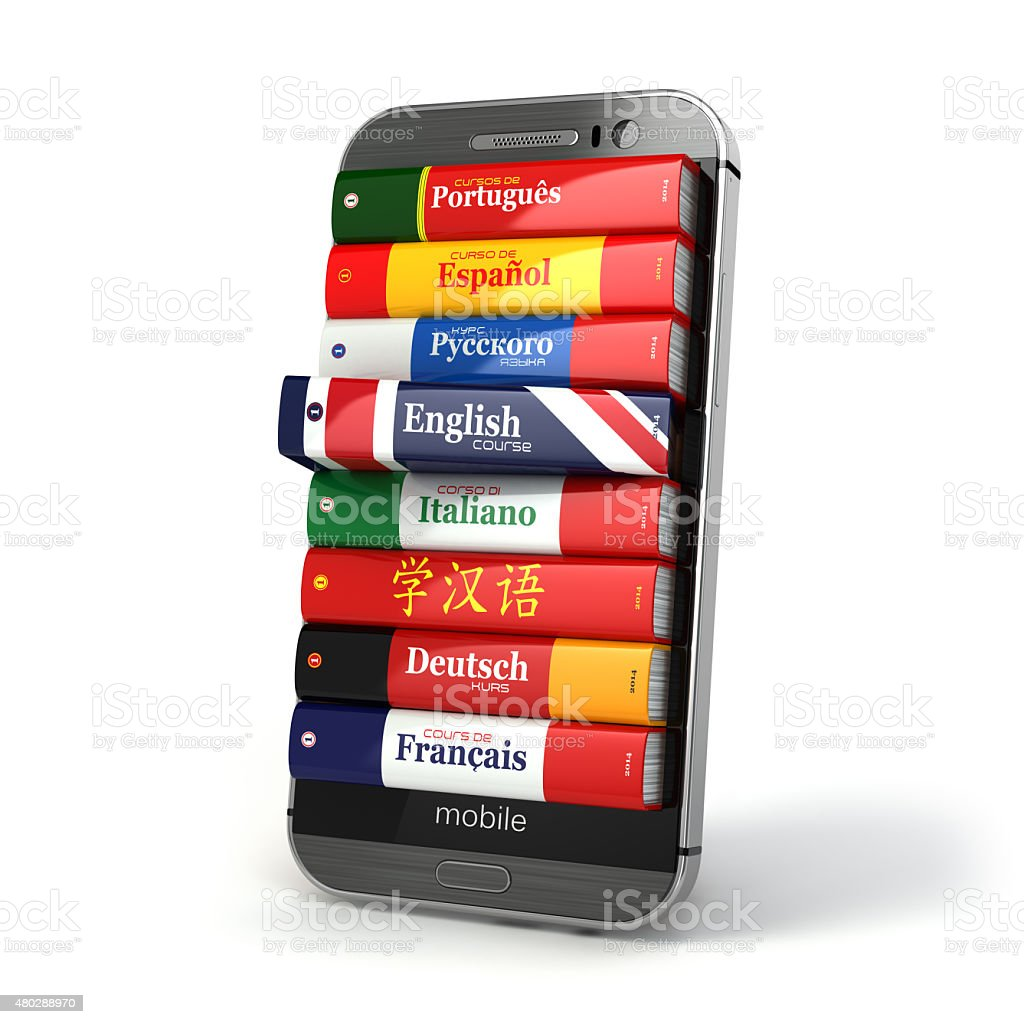 E-learning. Mobile dictionary. Learning languages online. stock photo