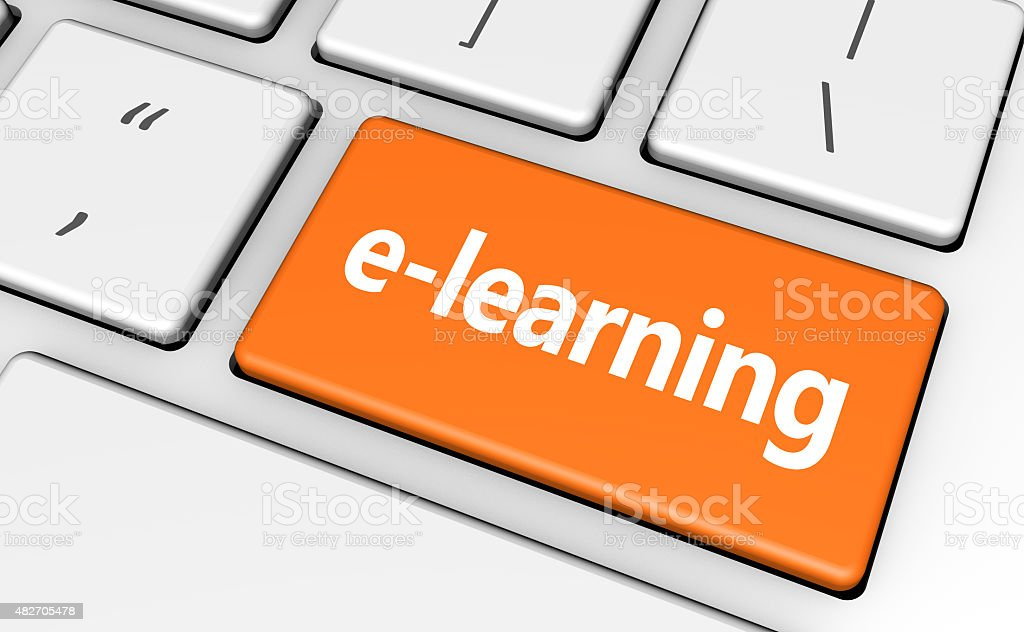E-learning Web Banner Key Concept stock photo