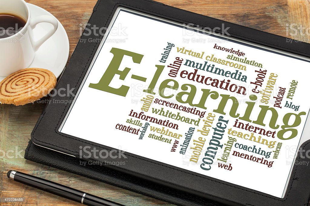 e-learning word cloud stock photo