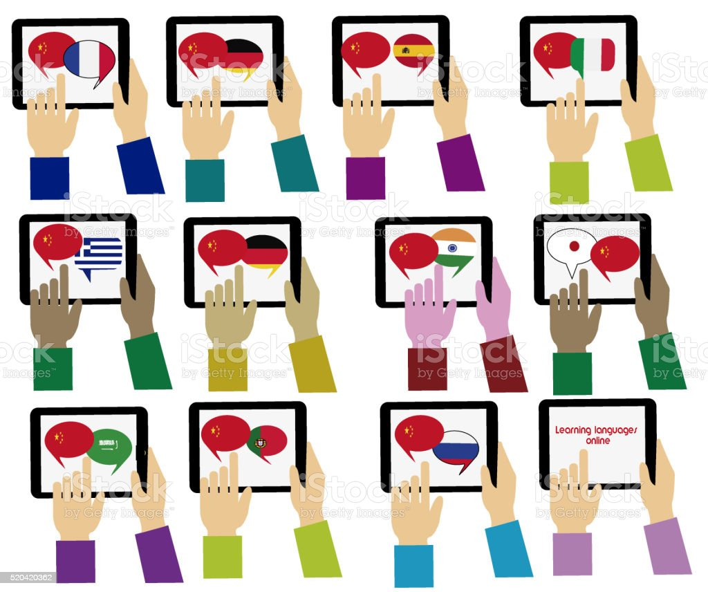 E-learning.Chinese,  Mobile dictionary. Learning languages online stock photo