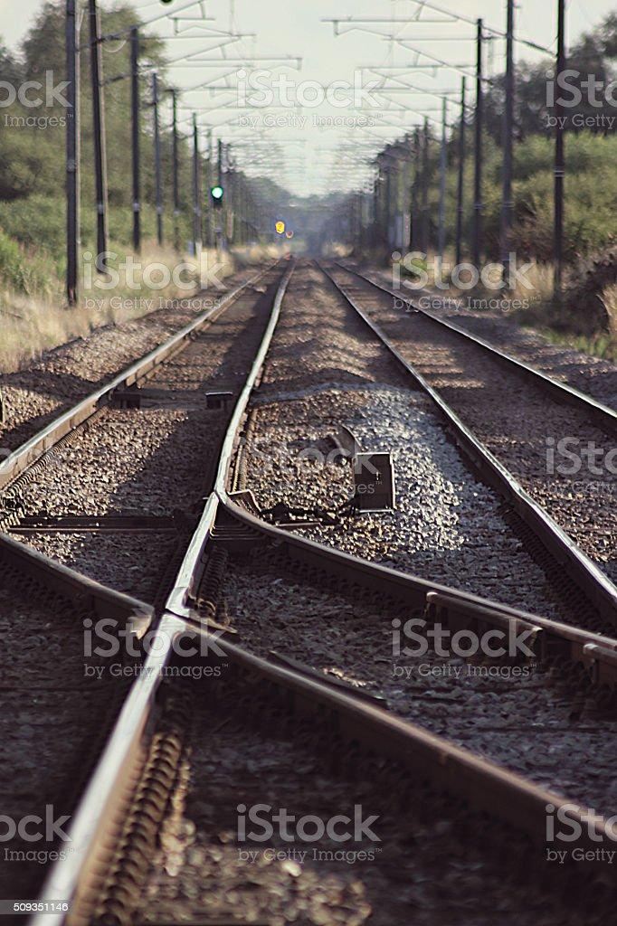 Electic Train Tracks. Railway Line stock photo