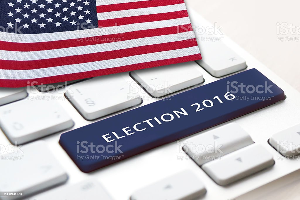 Election 2016 blue button with american flag on background stock photo