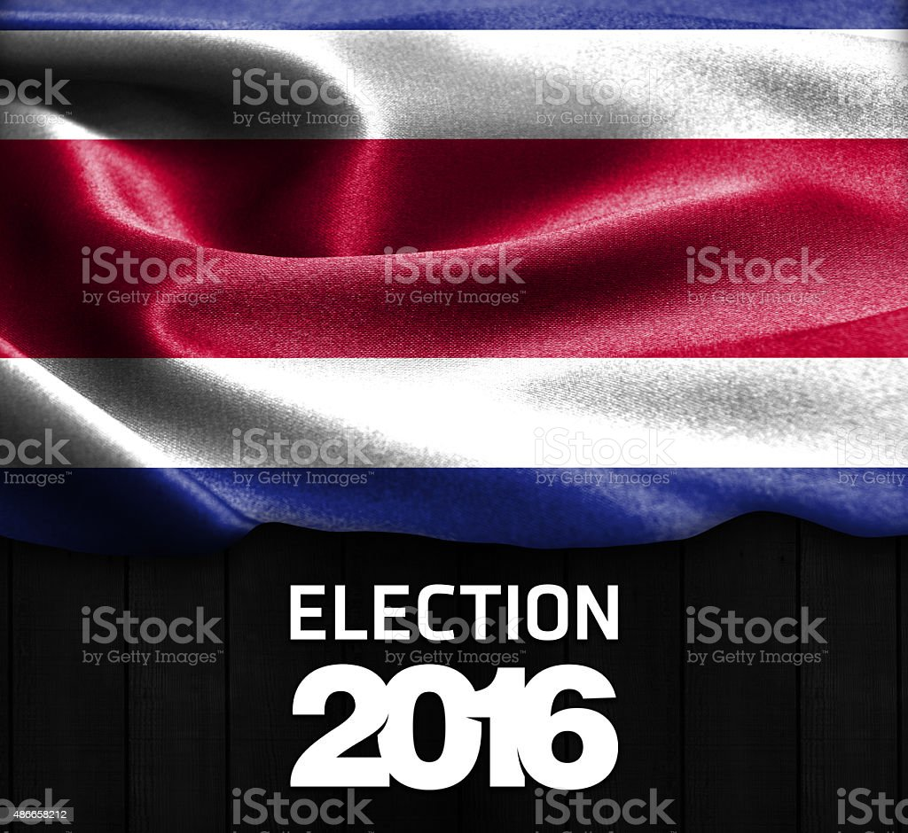 Election 2016 Typography, Costa Rica smooth silk texture stock photo