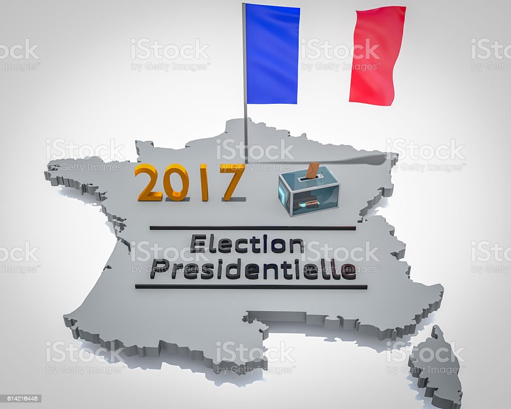 Election 2017 sur carte France grise stock photo