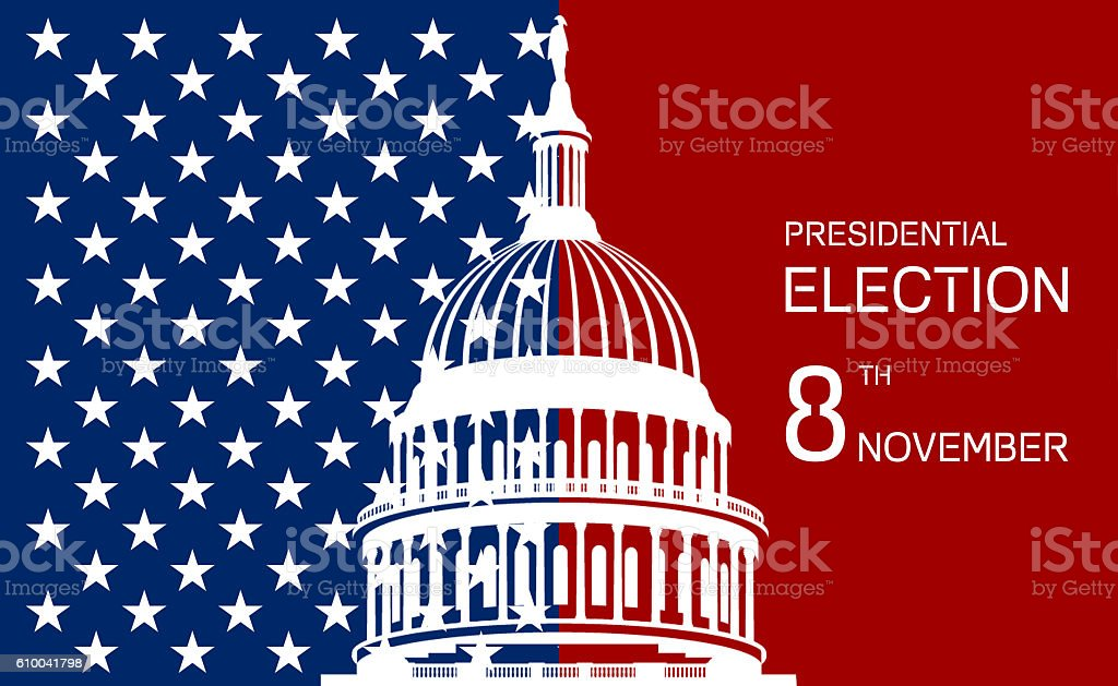 USA election background Capitol vector art illustration