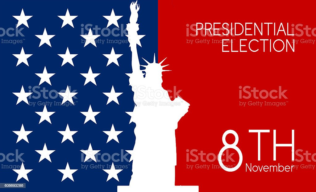 USA election background Statue of Liberty vector art illustration