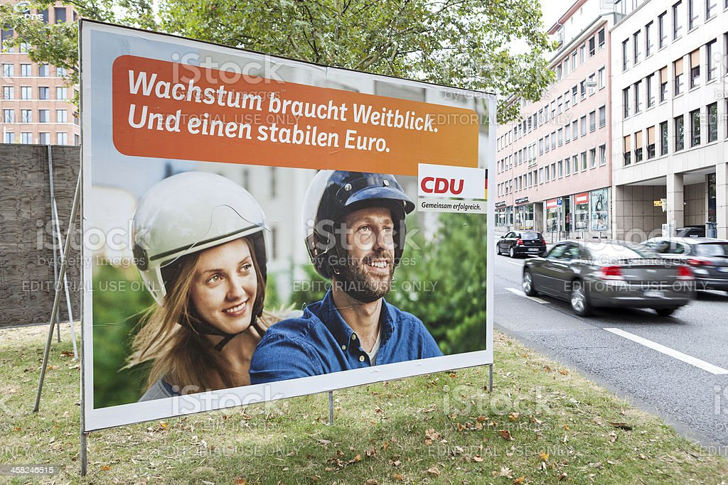 Election campaign billboard of CDU / Bundestagswahlkampf 2013 royalty-free stock photo