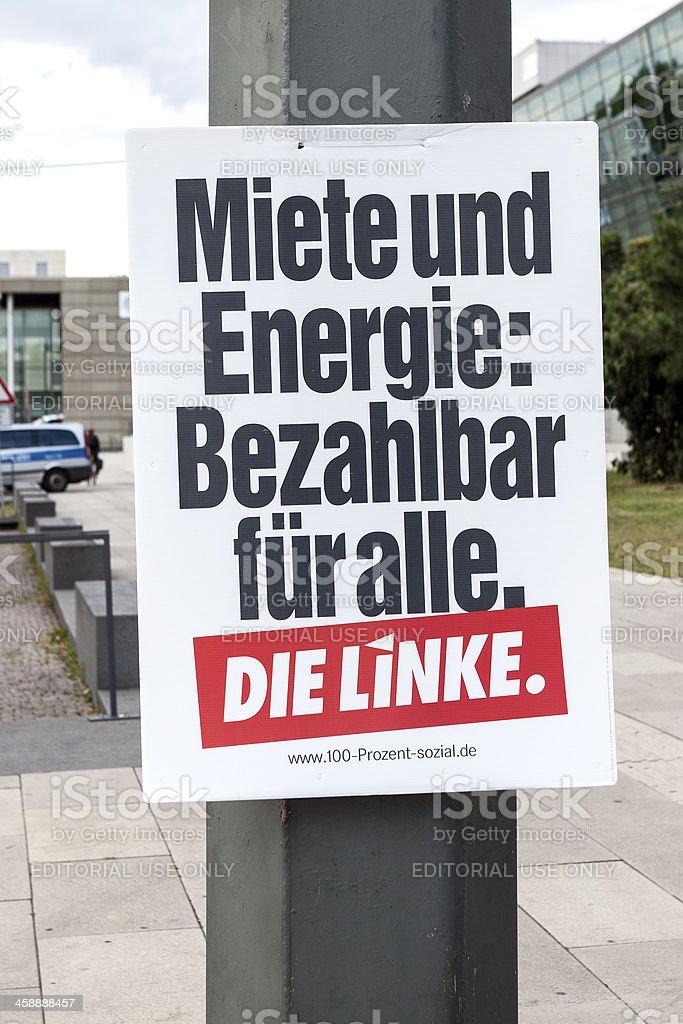 Election campaign billboard of DIE LINKE / Bundestagswahlkampf 2013 royalty-free stock photo