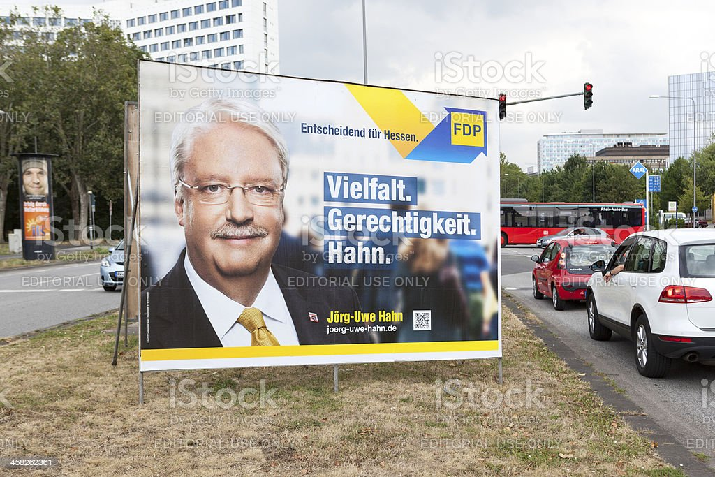 Election campaign billboard of FDP / Landtagswahlkampf 2013 stock photo