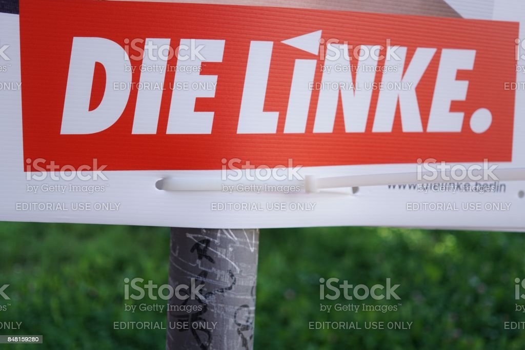 Election campaign billboard of German political party Die Linke stock photo