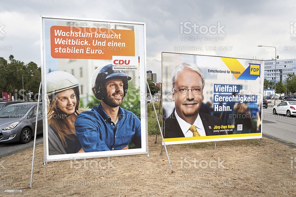 Election campaign billboards of CDU and FDP / Bundestagswahlkamp stock photo
