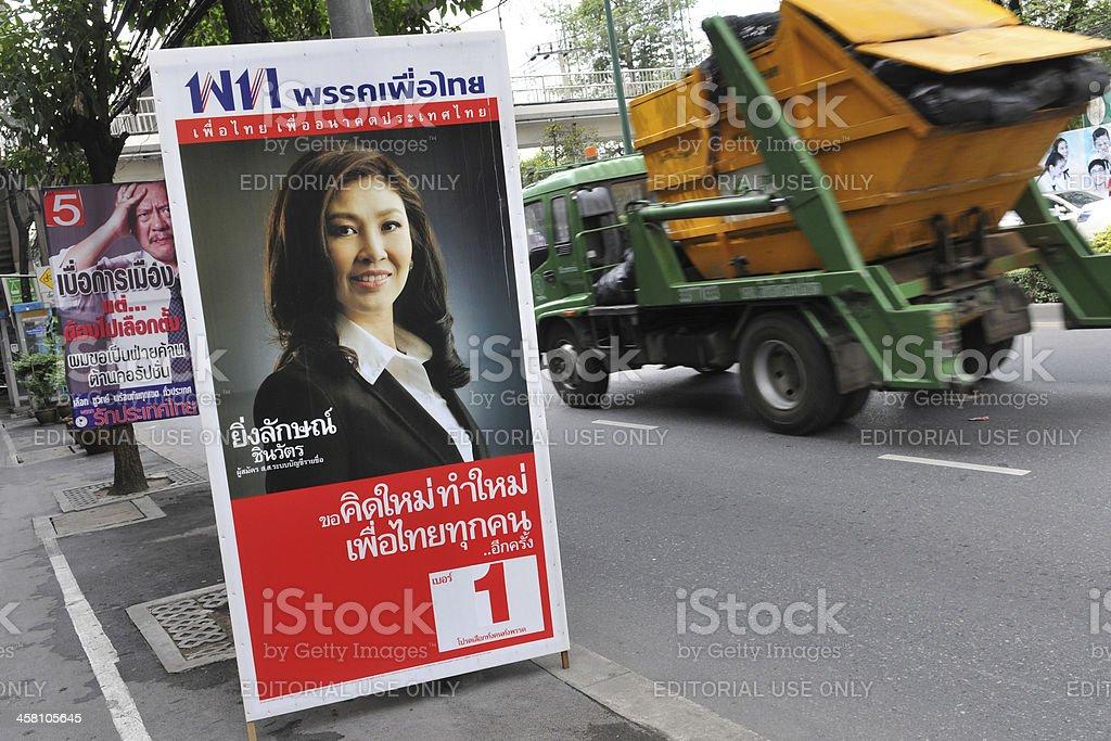 Election Campaign Placard Endorsing Pheu Thai Party Leader Yingluck Shinawatra royalty-free stock photo